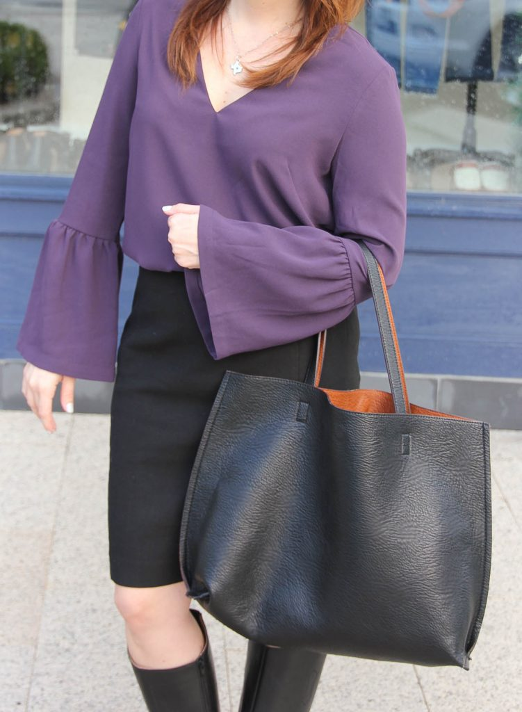 Houston Style Blogger Lady in Violet shares what to wear to the office including a bell sleeve blouse and pencil skirt.