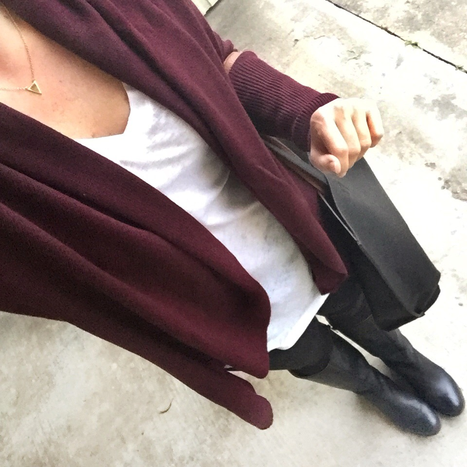 Karen Rock Houston Fashion blogger wears winter loungewear in a burgundy cardigan, white long sleeve tee and black leggings.