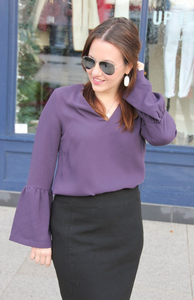 Houston fashion blogger shares different work outfit ideas featuring a bell sleeve blouse and pencil skirt.
