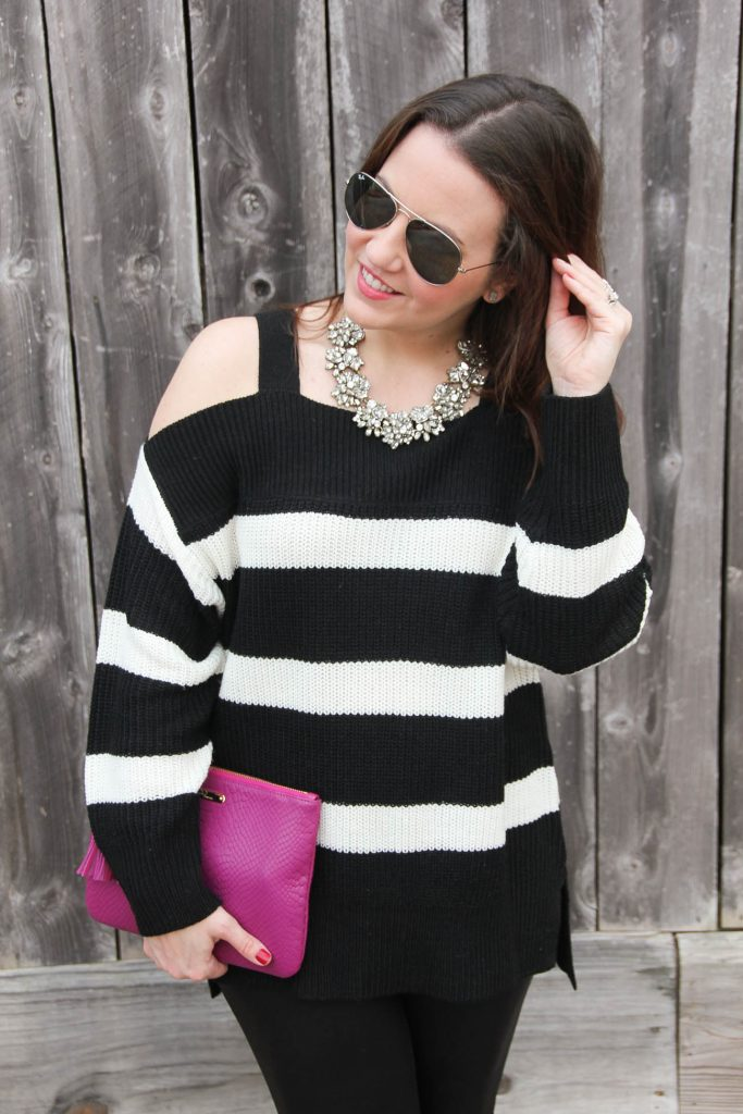 Texas Style Blogger Lady in Violet wears a cold shoulder sweater with a Baublebar statement necklace for a cold weather party outfit idea.