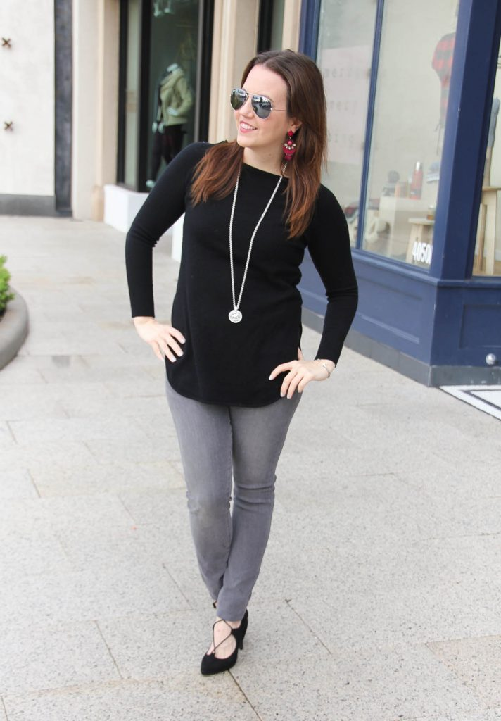 Houston Style Blogger wears a winter outfit for weekends including a black sweater, gray skinny jeans, and heels.