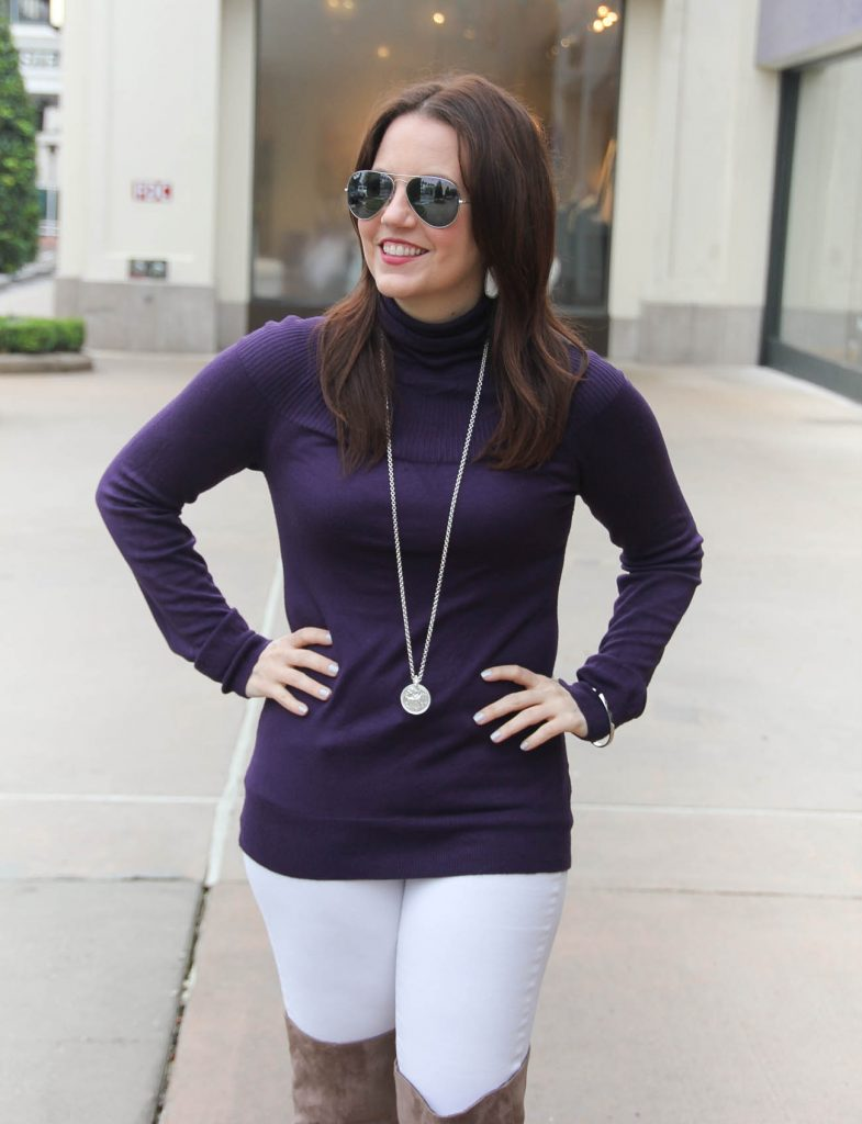 Houston Fashion Blogger Karen Rock styles a casual winter outfit including a turtleneck sweater with white skinny jeans and otk boots. Click through for outfit details.