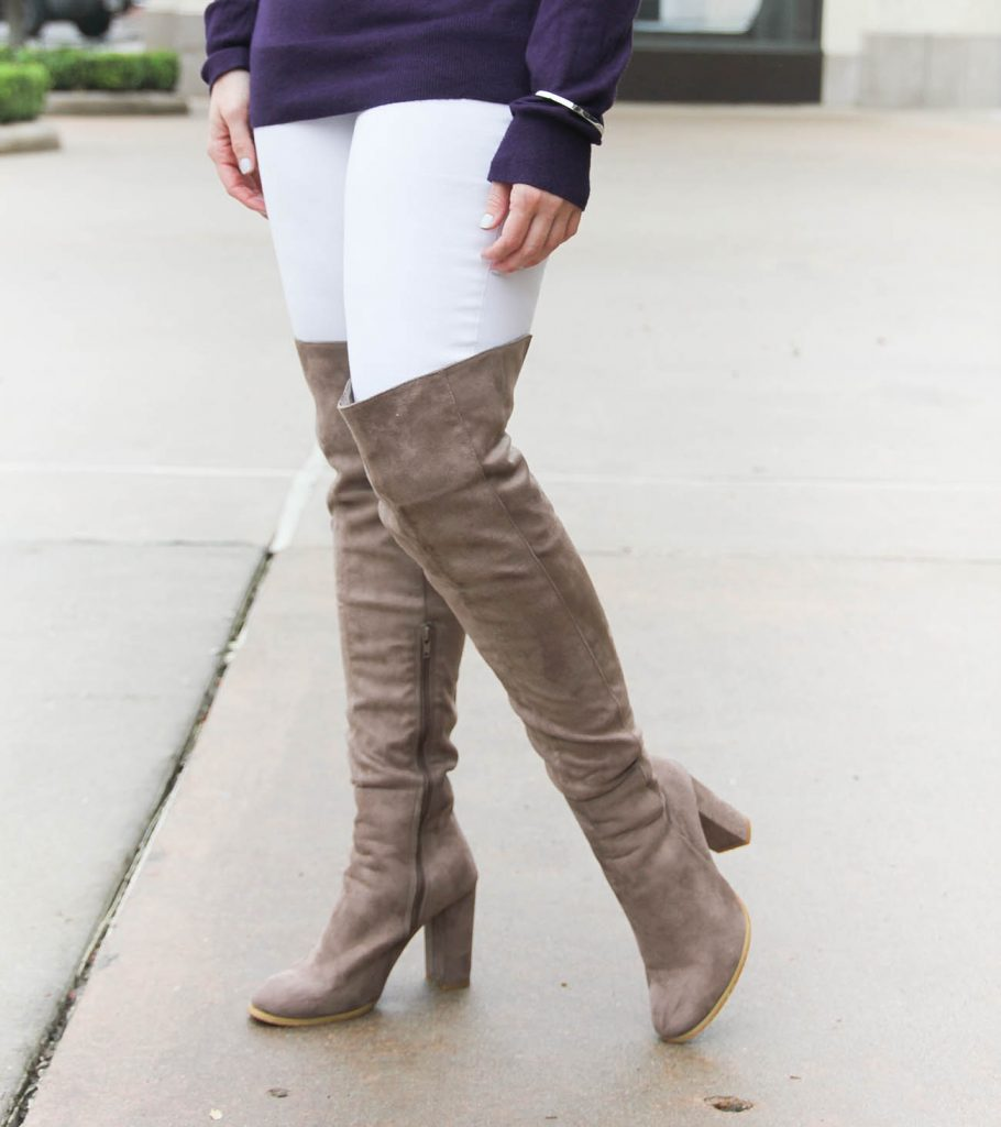 Houston Style Blogger Lady in Violet shows how to wear over the knee boots when you're short. Click through for outfit details.