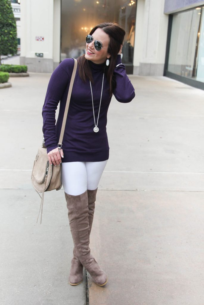 Houston Fashion Blogger wears a casual winter outfit including a purple fitted sweater with white jeans and taupe over the knee boots. Click through for outfit details.