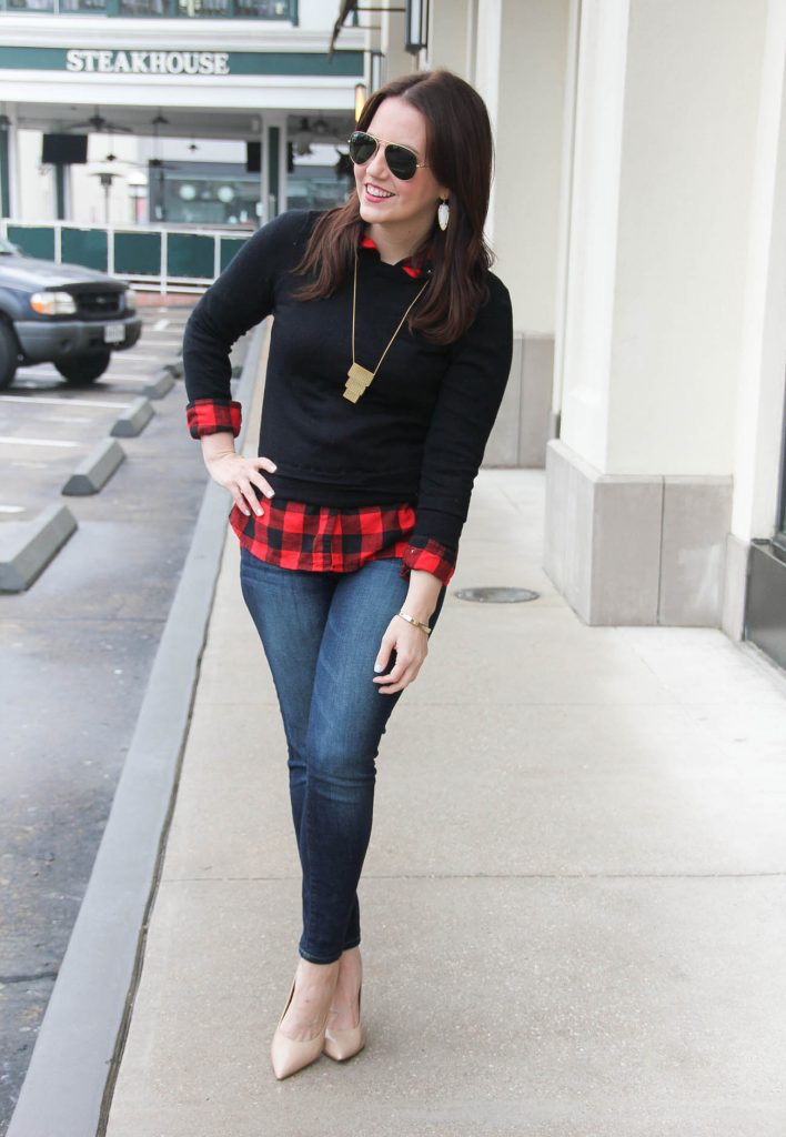 Houston Fashion Blogger wears a weekend casual outfit with jeans, heels, and a sweater. Click through for details.