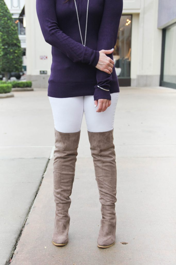 Petite Fashion Bloggers shares how to wear over the knee boots when you're short.