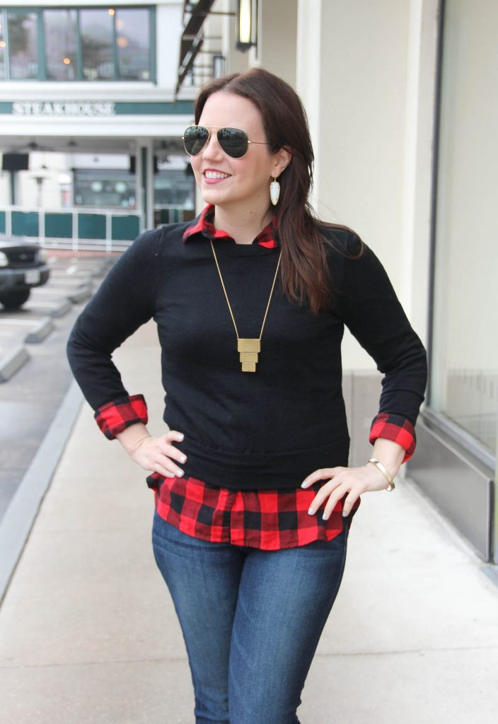 Houston Fashion Blogger Lady in Violet styles a winter weekend outfit idea including a jcrew sweater and old navy plaid shirt.