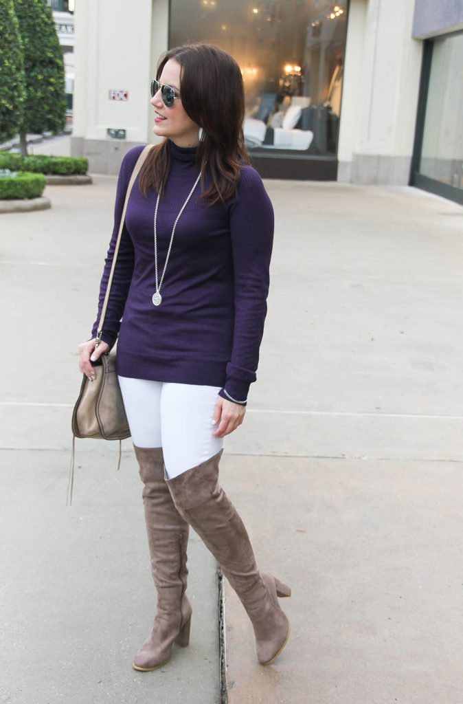 Houston Fashion Blogger styles winter outfits featuring over the knee boots, lightweight sweaters, and skinny jeans. Click through for outfit details.