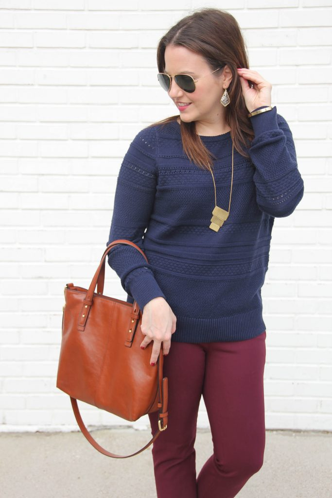 879198dca35 ... Houston Fashion Blogger Lady in Violet wears a winter work outfit from  loft including a navy