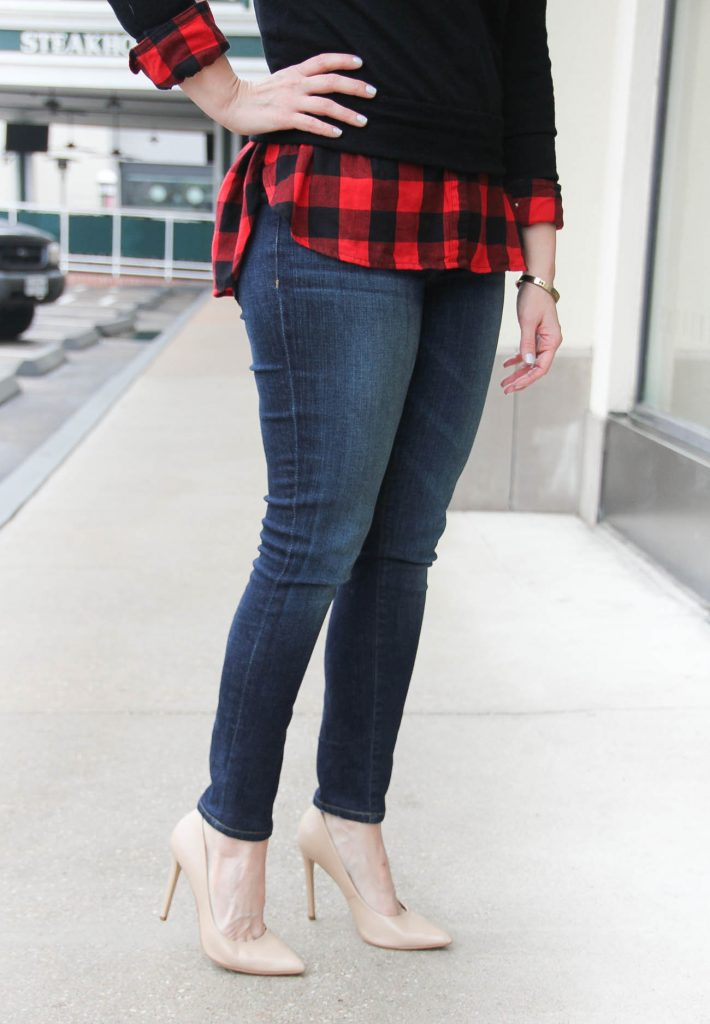Houston Fashion Blogger styles outfit ideas with skinny jeans for women in winter. Click through for more info.