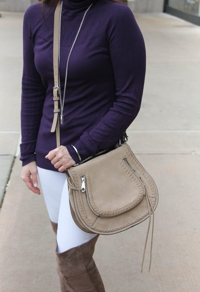 Houston Blogger wears a casual brunch outfit featuring a purple sweater with white jeans and taupe otk boots. Click through for outfit details.