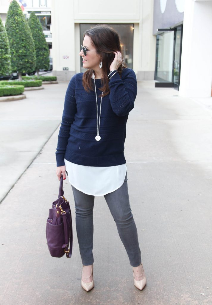 Houston Fashion Blogger styles a winter outfit idea for weekends featuring gray jeans, a navy sweater and nude heels. Click through for outfit details.