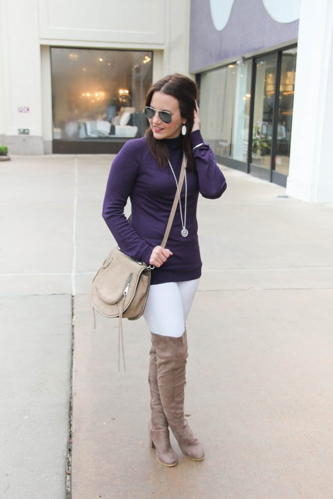 Houston Fashion Blogger wears a winter outfit idea featuring a lightweight sweater, white skinny jeans and over the knee boots. Click through for outfit details.