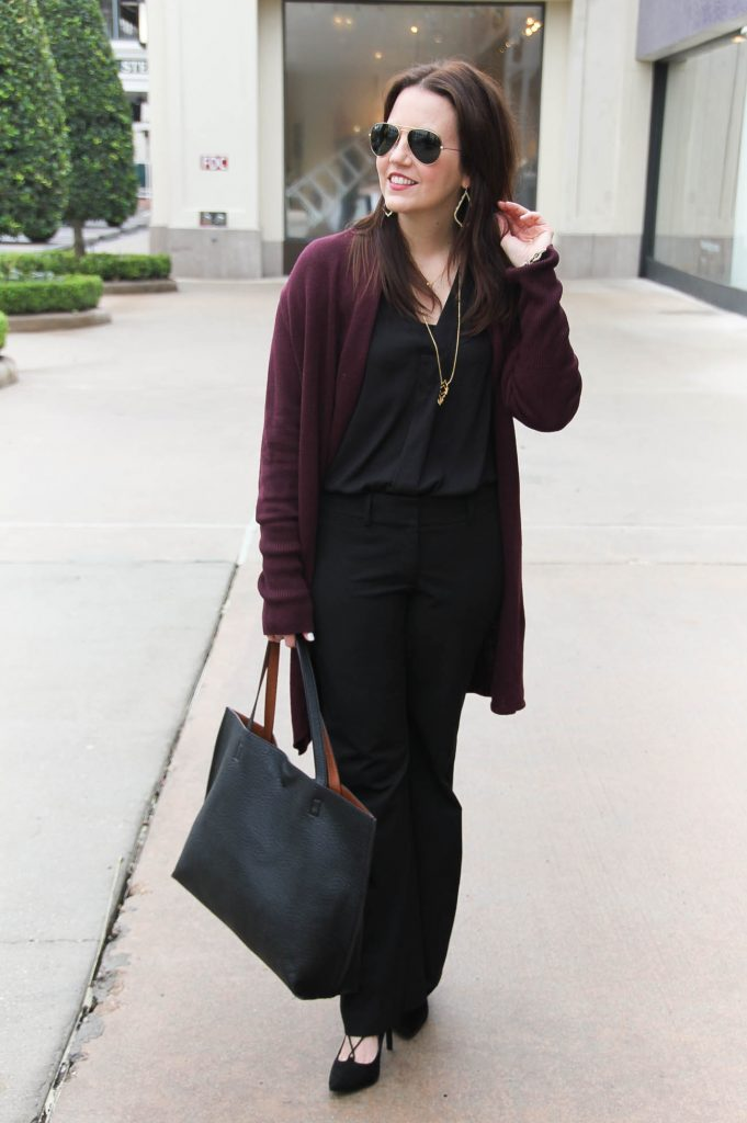 Houston Fashion Blogger styles a cozy and chic winter outfit idea featuring a cocoon Cardigan in burgundy.