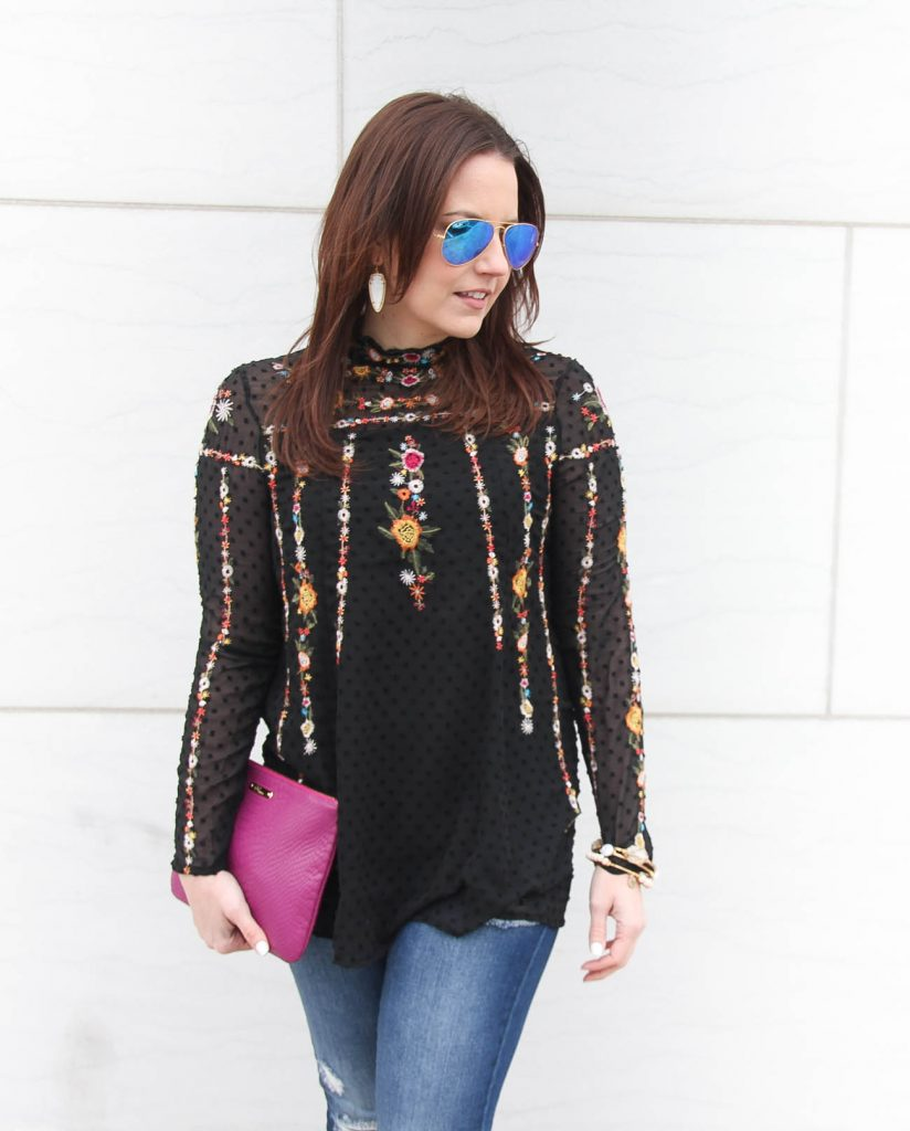 Lady in Violet, a Houston based Fashion Blogger wears a Chicwish embroidered top for date night.