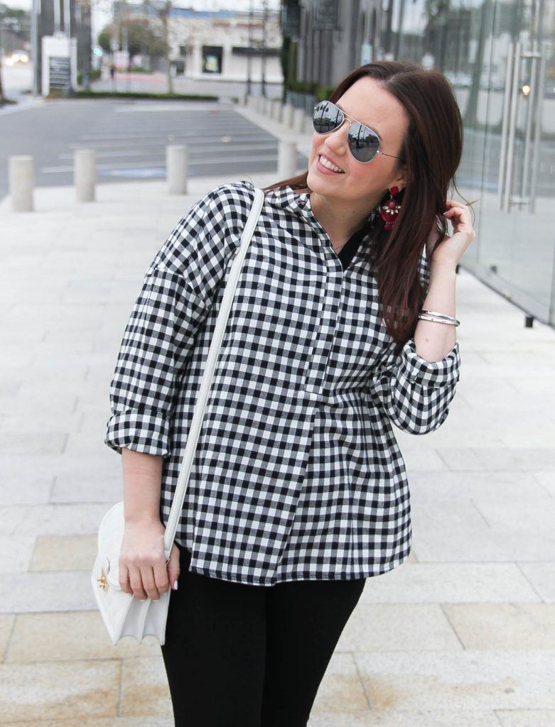 Houston Style blogger shares the it top for spring, an oversized gingham top with baublebar berry statement earrings.