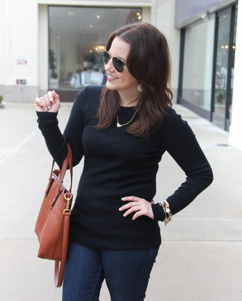 Houston Fashion Blogger wears a JCrew black ribbed knit sweater with the Vera Bradley sagebrush satchel in mesa brown.