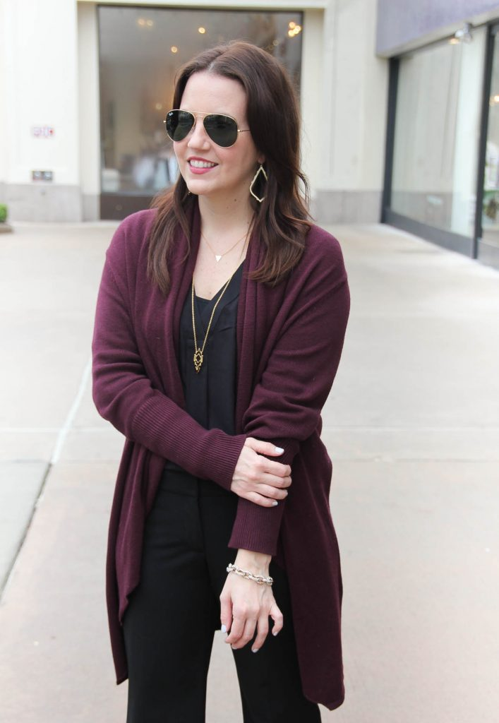 Lady in Violet, a Houston Style Blogger wears a long cardigan for a work outfit idea.