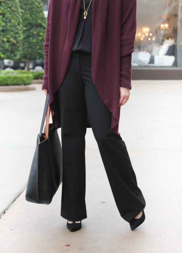 Lady in Violet, a Houston Fashion Blogger shares what to wear with black pants to work in winter months.