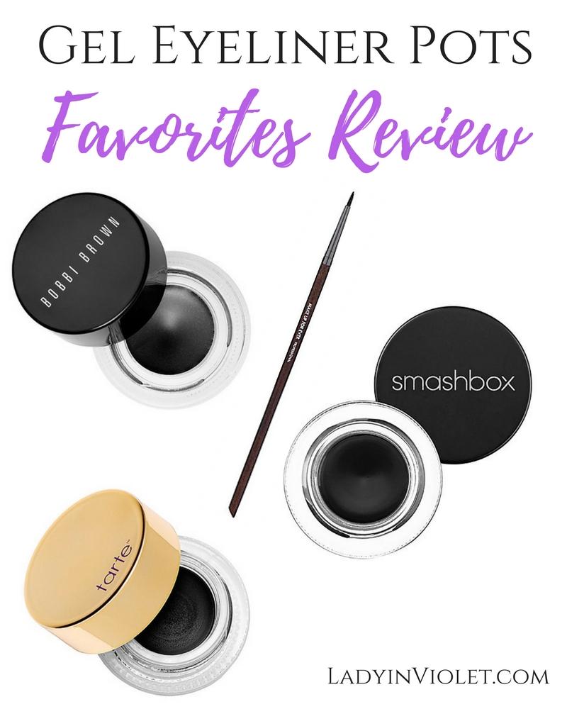 Lady in Violet, a Houston based blogger reviews 3 gel eyeliner pots including Bobbie Brown Long Lasting Liner, Smashbox Jet Set Eyeliner and Tarte Clay Pot eyeliner.