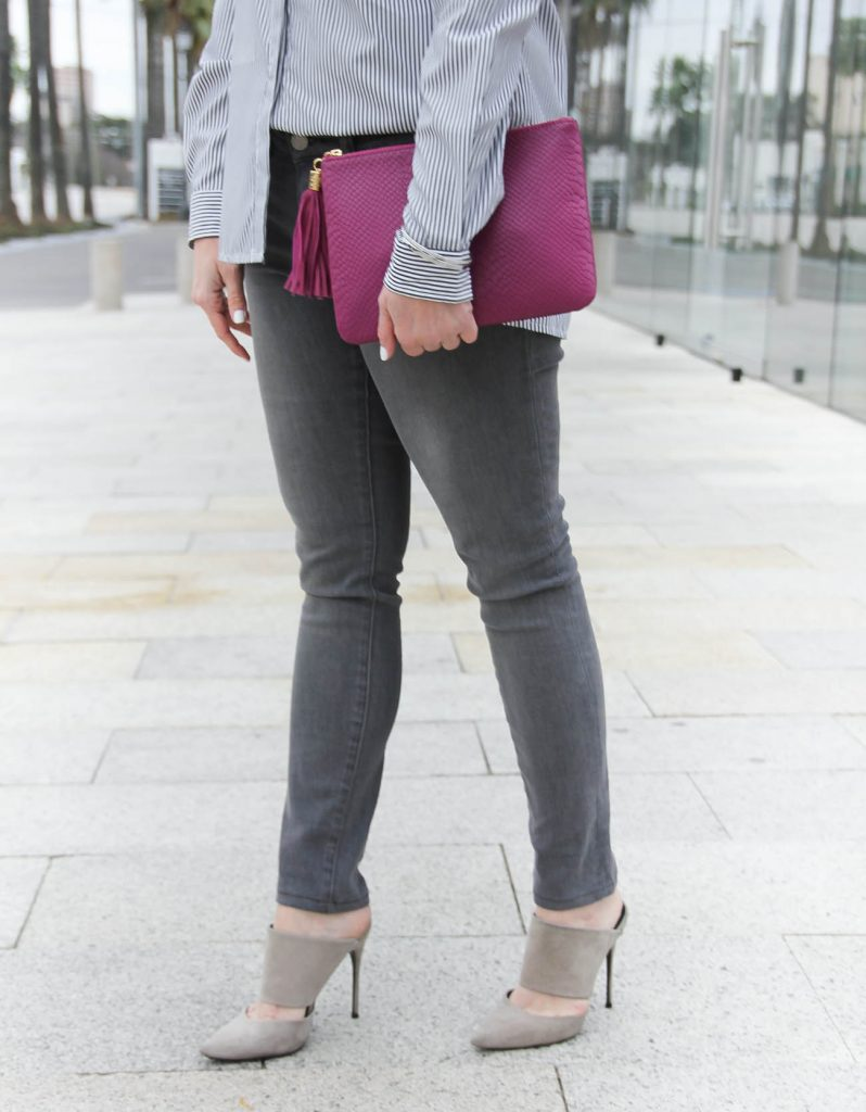 Lady in Violet shares how to wear gray skinny jeans for date night.