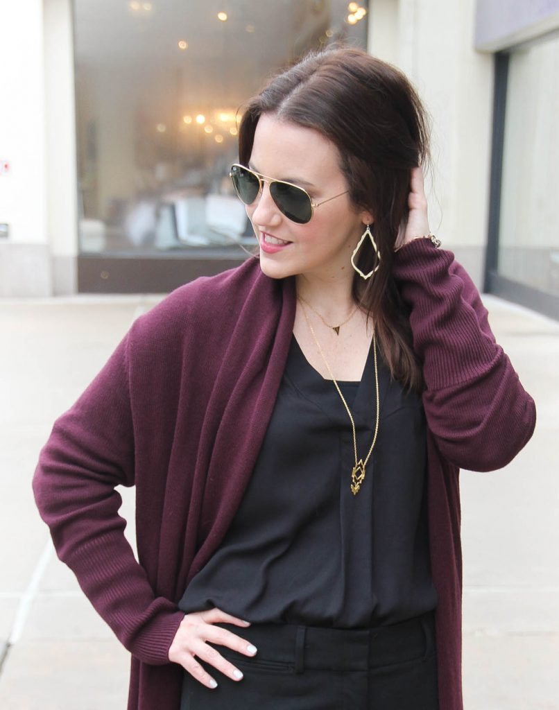 Lady in Violet, a Houston Personal Style Blogger wears Kendra Scott drop earrings with Gorjana layered necklaces.