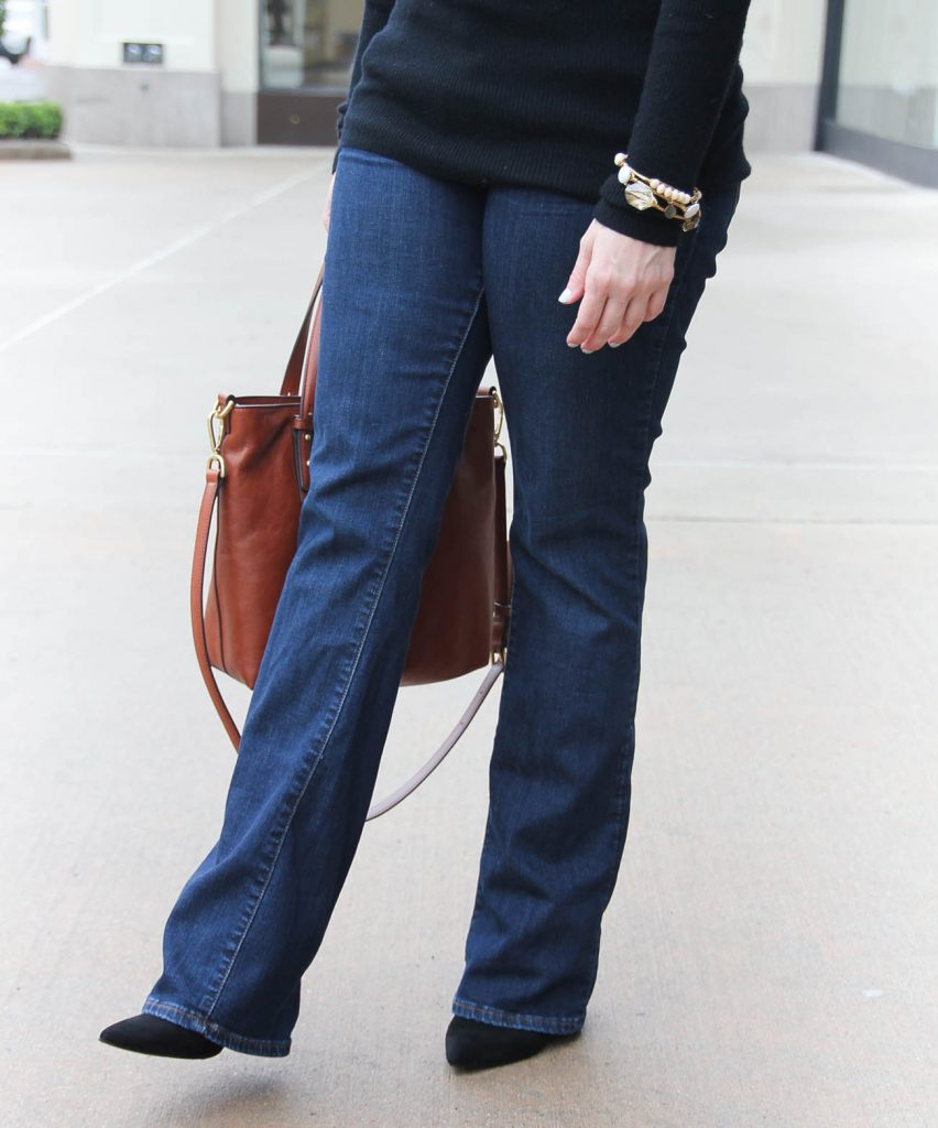 Lady in Violet, a Houston style blogger shares what to wear with flared bootcut jeans to work.