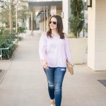 Pink Cold Shoulder Top + Tory Burch Sandals Review