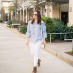 Blue Off the Shoulder Top + White Denim