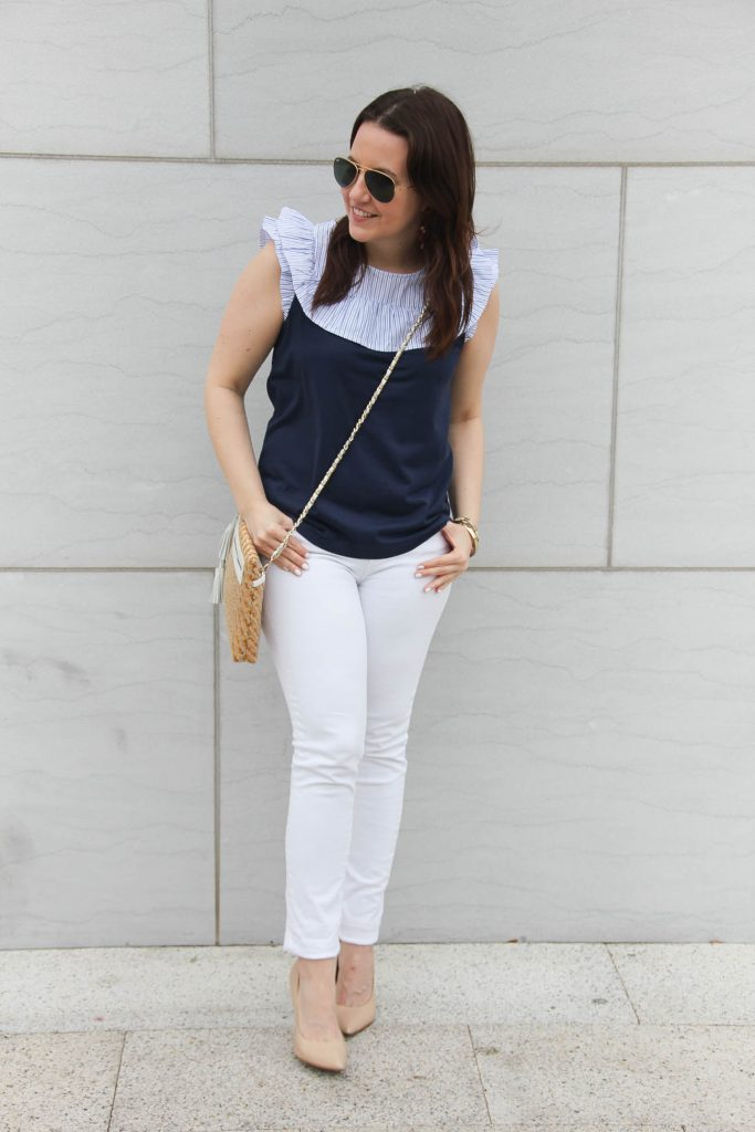 Houston fashion blogger shares a spring outfit idea including a JCrew ruffle bib tee and white jeans.