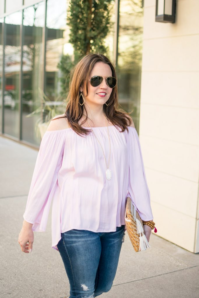 Pink Cold Shoulder top for spring and Kendra Scott Rae Necklace.