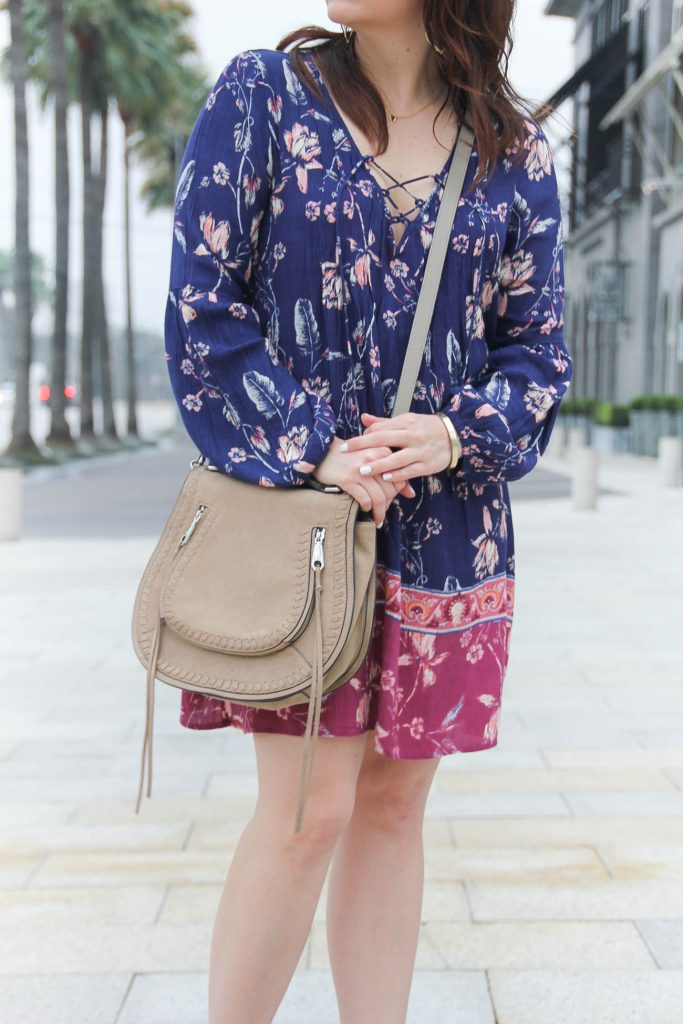 Houston fashion blogger Lady in Violet wears a floral swing dress with the Rebecca Minkoff crossbody bag for spring outfit inspiration.