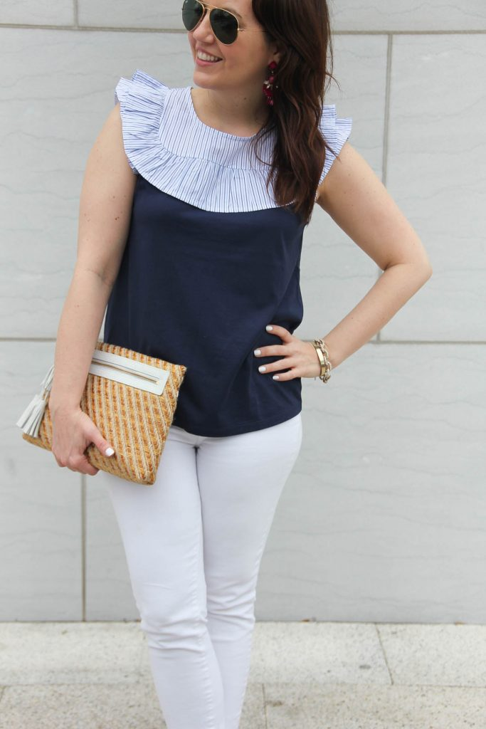 Karen Rock, a Houston fashion blogger, wears the Jcrew sleeveless top, straw clutch, and gives a paige white denim review.