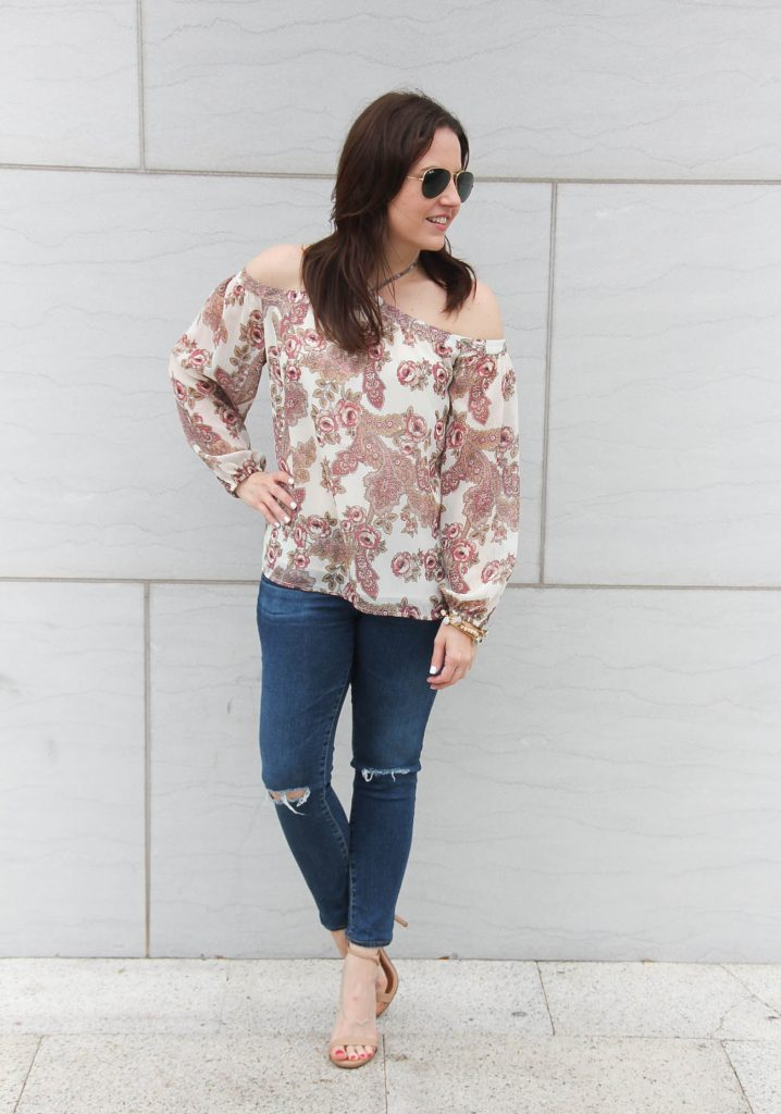 Lady in Violet, a houston based fashion blogger styles a spring weekend casual outfit idea including floral blouse and distressed jeans.