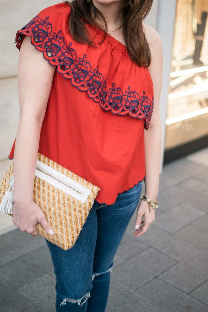 Houston fashion blogger wears the Asos red one shoulder top and the elaine turner sonata bag for spring outfit inspiration.