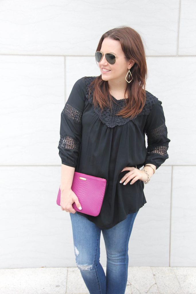 Lady in Violet, Houston fashion blogger wears a perfect black top to wear all year with jeans.