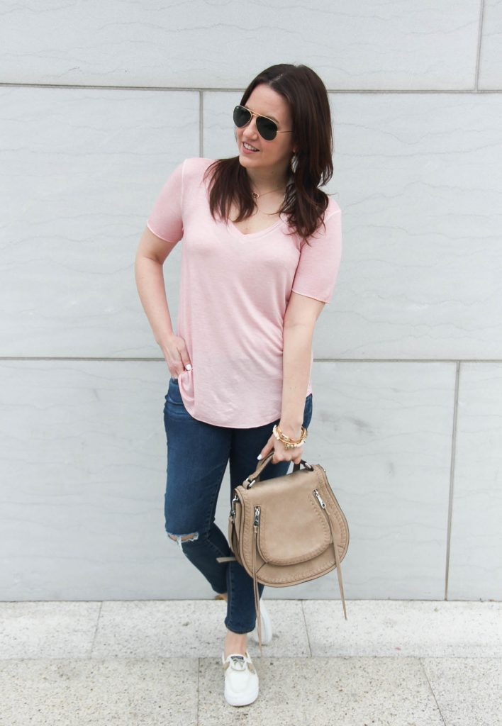 Lady in Violet, a Houston fashion blogger wears casual weekend outfit ideas with jeans and tshirt.