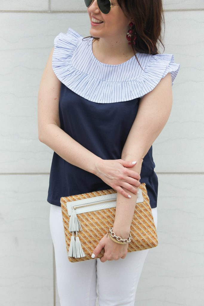 A navy ruffle bib top and more spring outfit ideas.