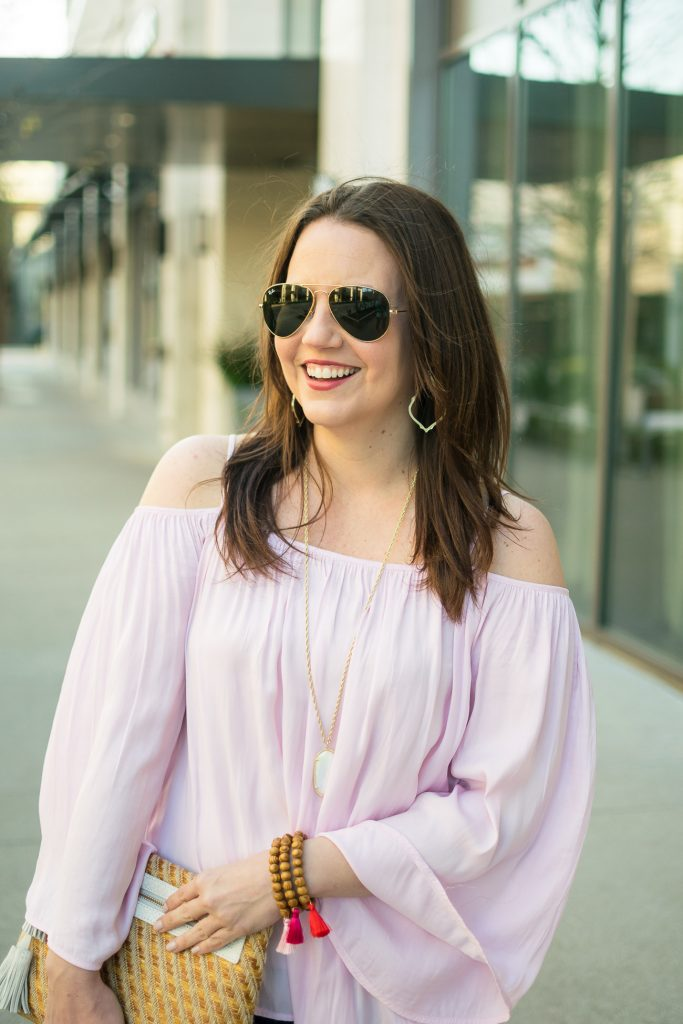 Lady in Violet shares what jewelry to wear with a cold shoulder top.