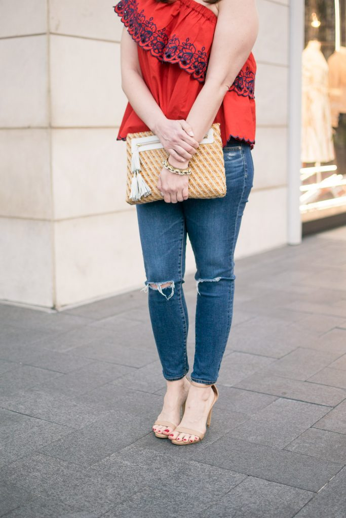 Houston fashion blogger shares what to wear with distressed jeans for a summer outfit idea.