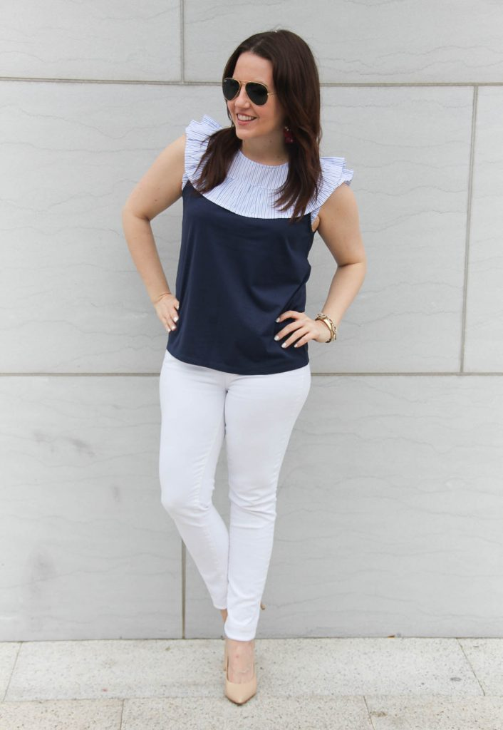 Houston fashion blogger shares weekend outfit ideas for spring including white jeans.