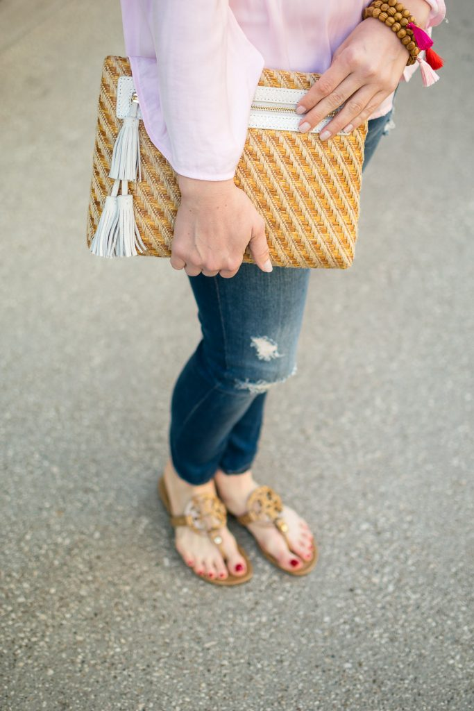 Houston fashion blogger shares her Tory Burch sandals review for the Miller sandal in sand patent.