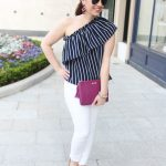 Chic Spring Outfit + Striped One Shoulder Top
