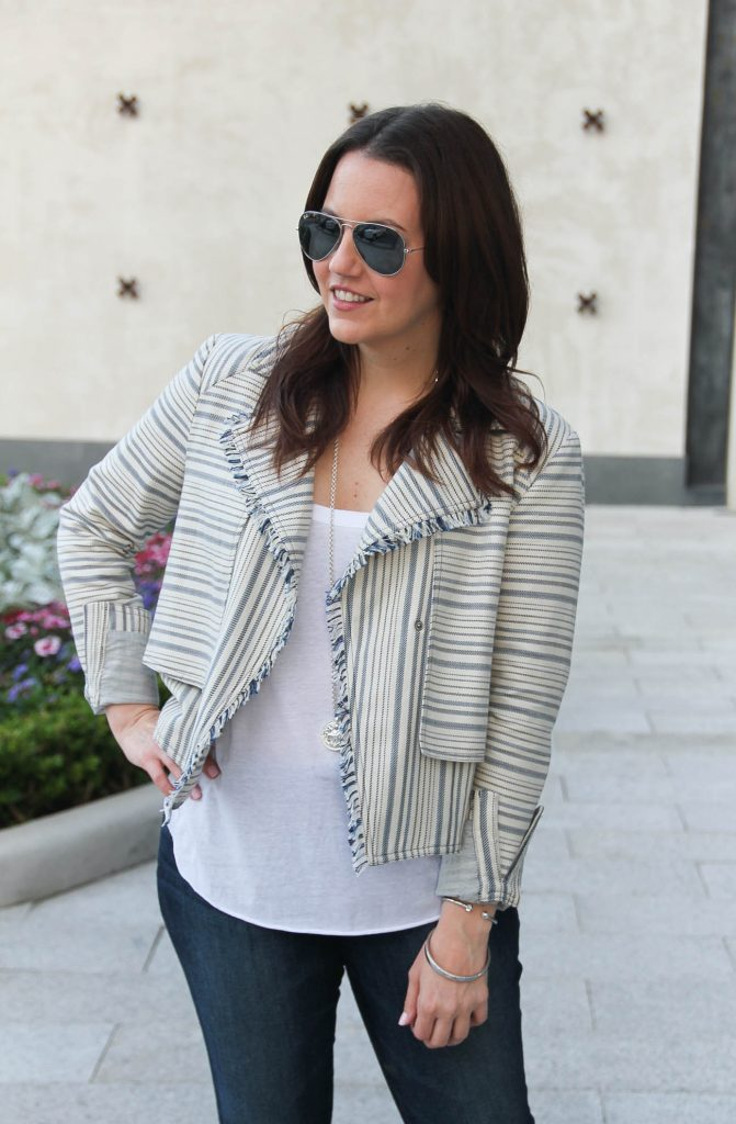 Luxington Boutique striped jacket outfit worn by Houston Fashion Blogger Lady in Violet.