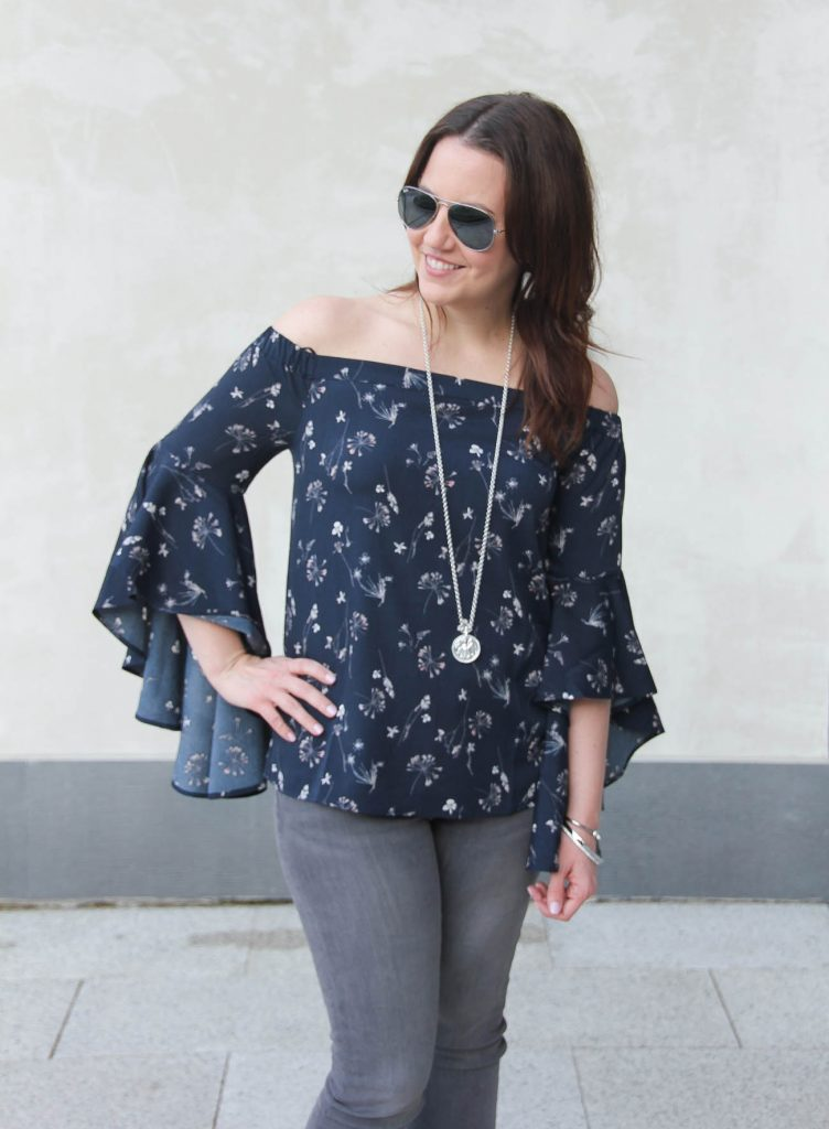 Lady in Violet of Houston wears the Nordstrom Chelsea28 bell sleeve off the shoulder top with a Julie Vos necklace.