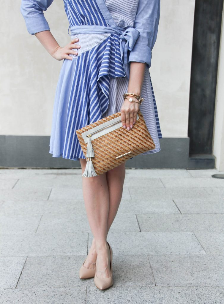 Anthropologie shirt dress paired with an Elaine Turner clutch for a luncheon outfit.
