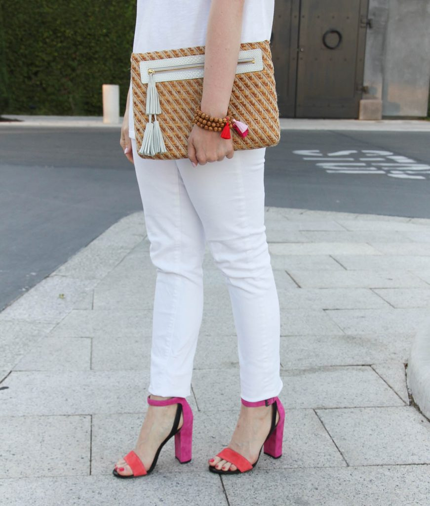 Houston blogger Lady in Violet wears the Botkier block heel sandals with white skinny jeans for some spring outfit inspiration.