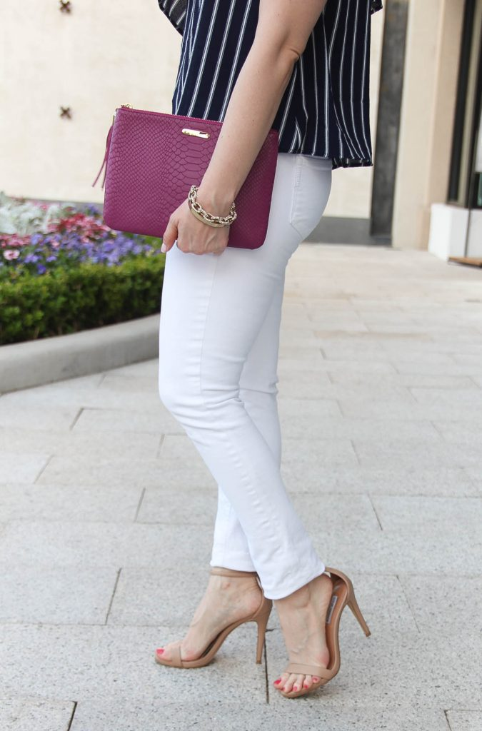 Style Blogger Lady in Violet shares what to pair with white jeans for spring.