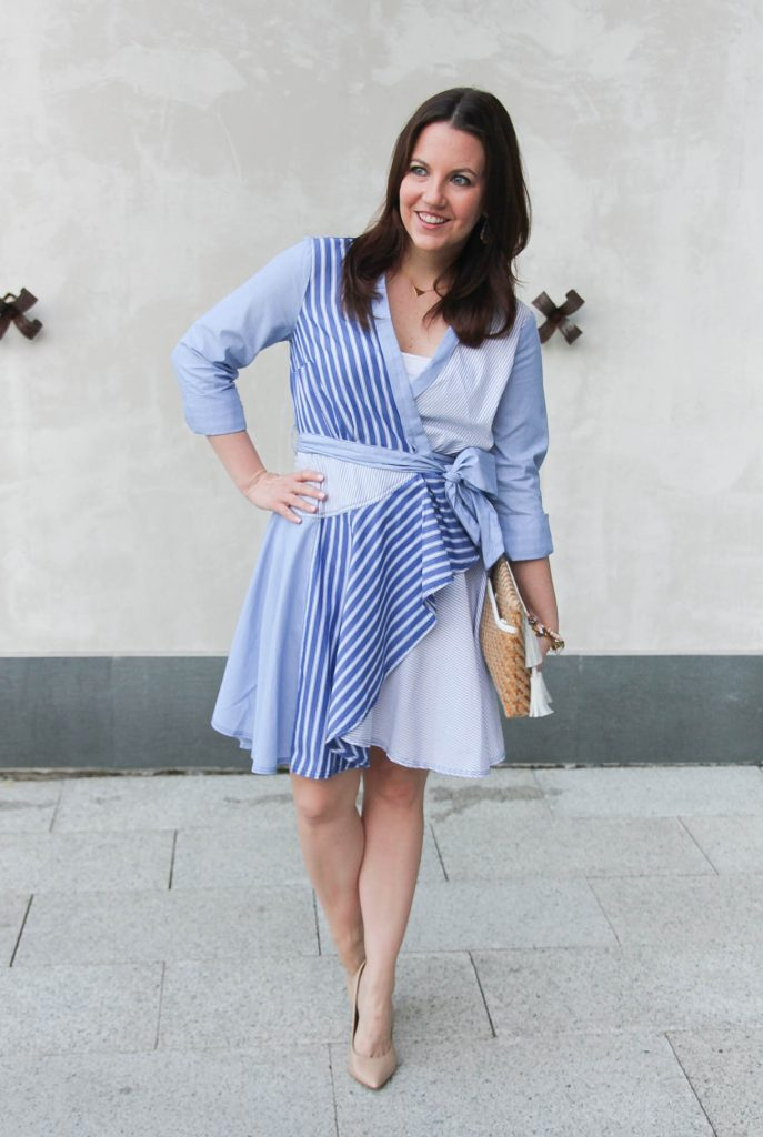 Houston style blogger wears a luncheon outfit idea including an Anthropologie dress and heels.