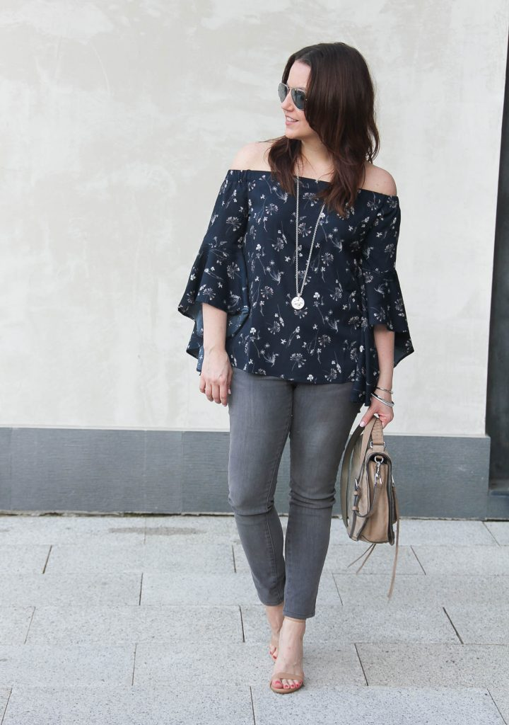 Lady in Violet, a Houston based blogger shares a weekend outfit idea including an off the shoulder top with gray skinny jeans and the Stecy Sandals.